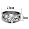 Valerie - Women's High Polished Stainless Steel Wedding Set with AAA Grade Clear CZ Stones