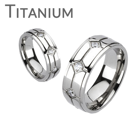 Vitality - Multiple Grooves Titanium Comfort Fit Ring with Cubic Zirconias