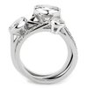 Vivienne - Women's Stackable AAA Grade Clear CZ Rhodium Plated Brass Ring Set