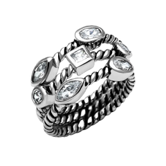 Vixen - Women's High Polished Stainless Steel Ring with AAA Grade Clear CZ Stones