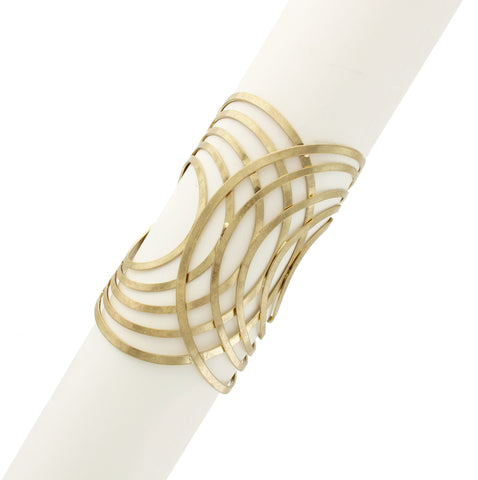Sparkling Sage - Detailed Cutout Overlapping Design Cuff Bracelet