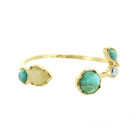 Sparkling Sage - Detailed Mixed Stone Cuff Bracelet