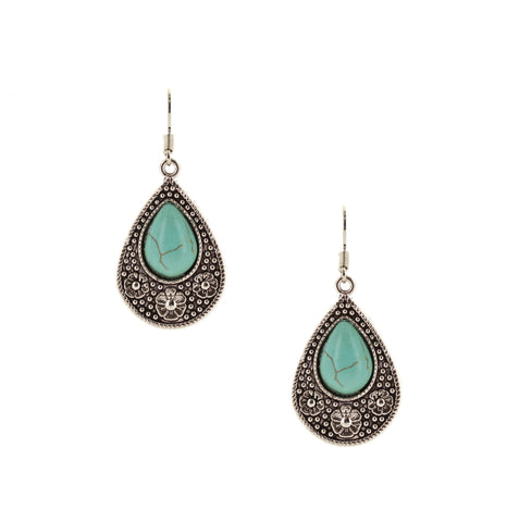 Sparkling Sage - Detailed Frame Teardrop Stone Earrings