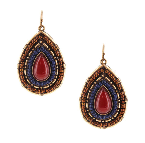 Sparkling Sage - Bead Detailed Teardrop Earrings
