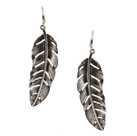 Sparkling Sage - Detailed Feather Drop Earrings