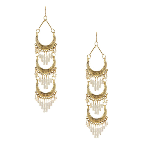 Sparkling Sage - Layered Seed Bead Tassel Drop Earrings
