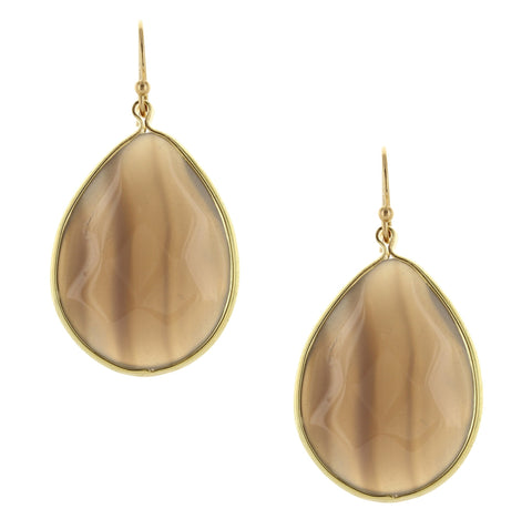 Sparkling Sage - Detailed Teardrop Natural Stone Earrings