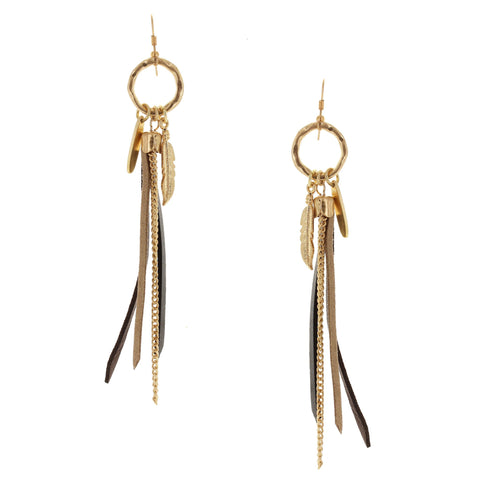 Sparkling Sage - Mixed Suede and Chain Feather Tassel Drop Earrings