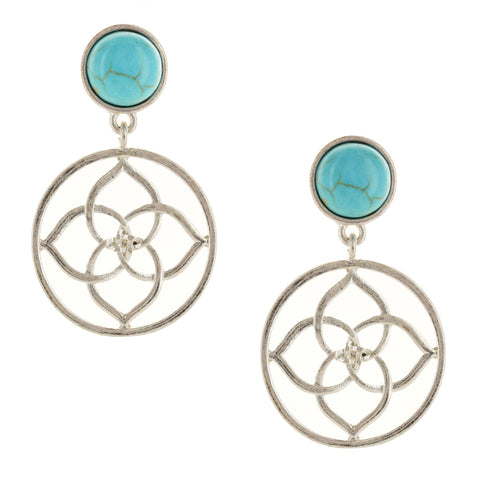 Sparkling Sage - Stone and Filigree Detail Drop Earrings
