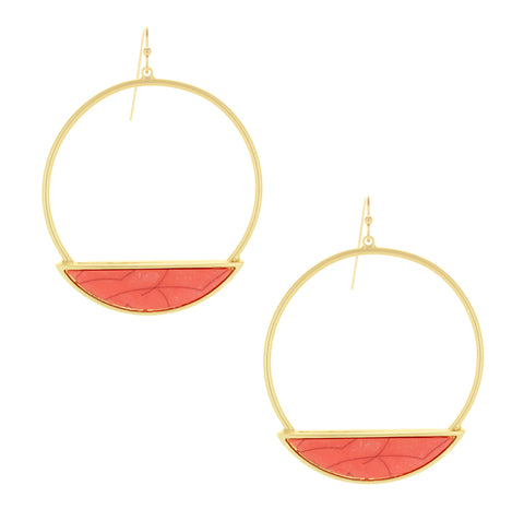 Sparkling Sage - Detailed Hoop and Half Circle Drop Earrings