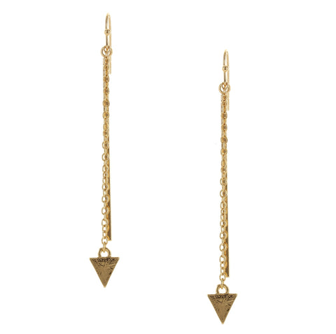 Sparkling Sage - Detailed Line and Arrow Chain Drop Earrings