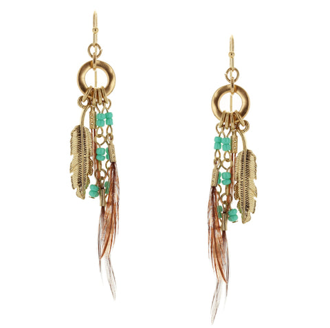 Sparkling Sage - Detailed Bead and Feather Drop Earrings