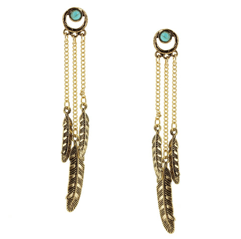 Sparkling Sage - Detailed Stone and Feather Trio Drop Earrings