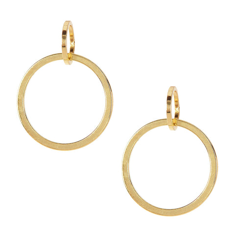 Sparkling Sage - Overlapping Double Circle Drop Earrings