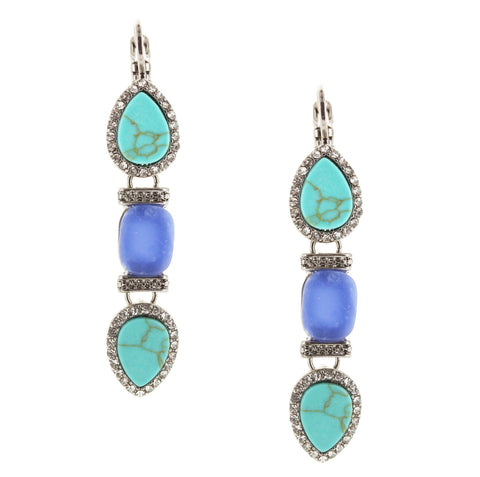 Sparkling Sage - Crystal Embellished Natural Stone Trio Drop Earrings