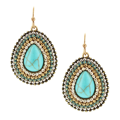 Sparkling Sage - Layered Bead Detail Teardrop Stone Earrings