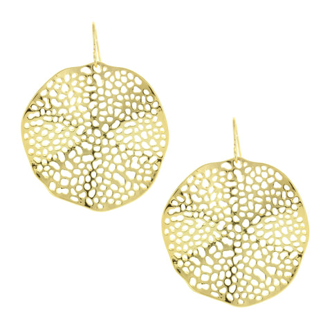 Sparkling Sage - Detailed Cutout Wavy Circle Drop Earrings