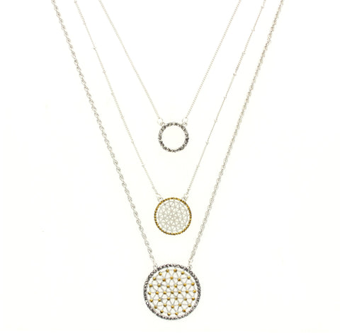 Sparkling Sage - Three-Layer Crystal Detailed Circle Necklace
