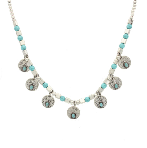 Sparkling Sage - Mixed Bead and Detailed Coin Necklace