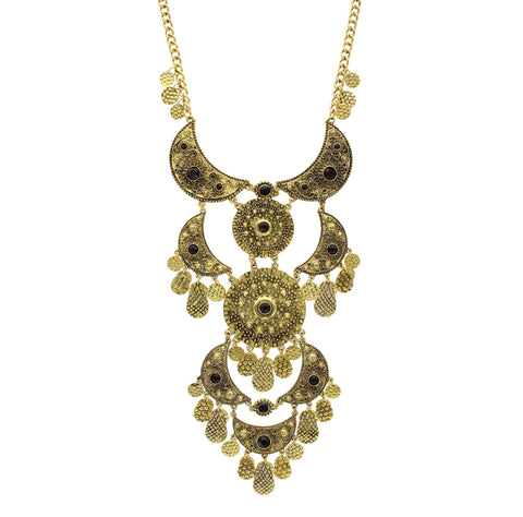 Sparkling Sage - Detailed Crescent and Circle Layered Statement Necklace