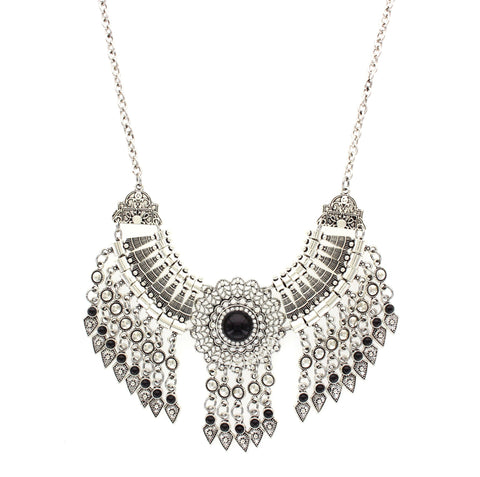 Sparkling Sage - Stone and Crystal Detailed Fringe Statement Necklace