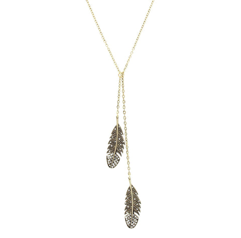 Sparkling Sage - Detailed Double Feather Pendant Necklace