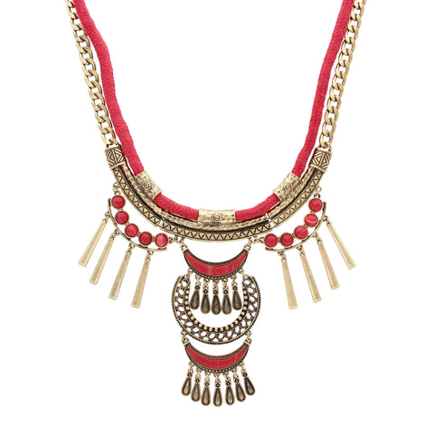 Sparkling Sage - Mixed Metal and Material Statement Fringe Necklace