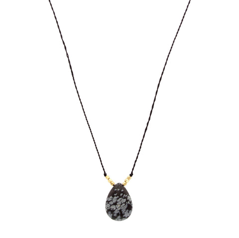 Sparkling Sage - Teardrop Stone and Textile Chain Necklace