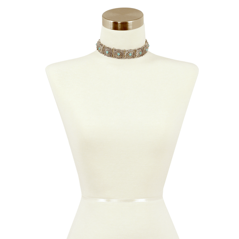 Sparkling Sage - Detailed Circle and Stone Embellishment Choker Necklace