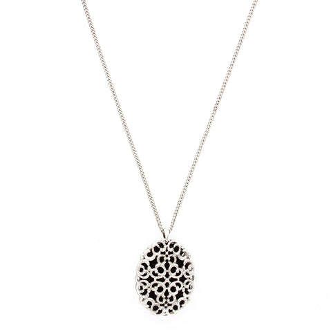 Sparkling Sage - Detailed Filigree Oval Pendant Necklace