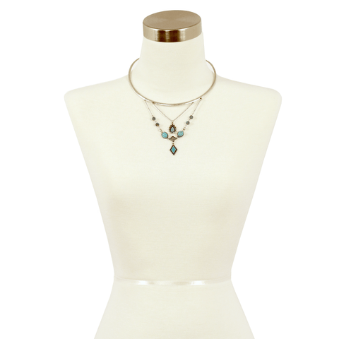 Sparkling Sage - Detailed Mixed Stone Drop Choker Necklace