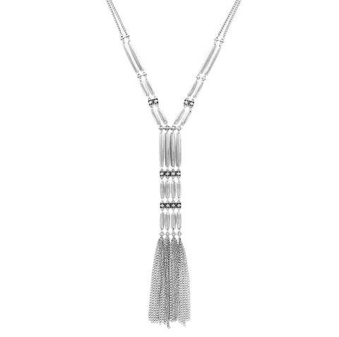 Sparkling Sage - Detailed Metal Rectangle and Chain Fringe Y Necklace