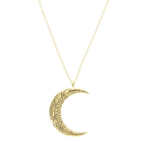 Sparkling Sage - Detailed Design Crescent Moon Pendant Necklace