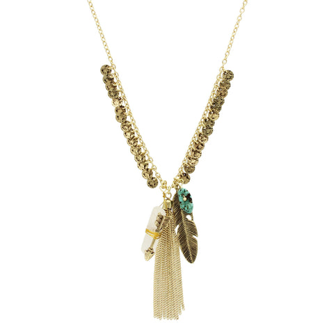 Sparkling Sage - Detailed Feather Cluster Necklace