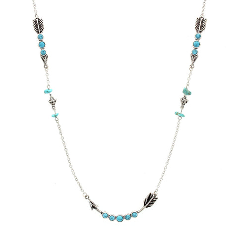 Sparkling Sage - Detailed Stone and Arrow Long Single Strand Necklace