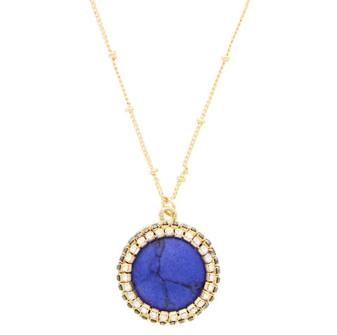 Sparkling Sage - Crystal Framed Circle Stone Pendant Necklace