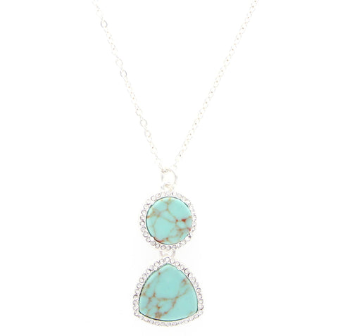 Sparkling Sage - Crystal Embellished Mixed Shape Pendant Necklace