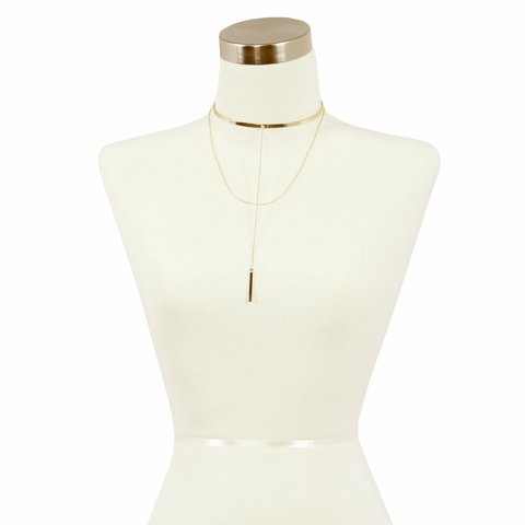 Sparkling Sage - Chunky Metal Choker and Layered Drop Chain Necklace