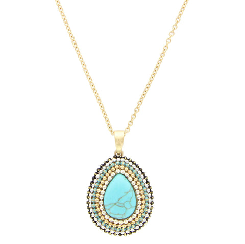 Sparkling Sage - Bead and Stone Detailed Teardrop Pendant Necklace