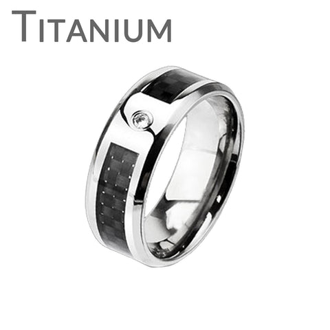 Wall Street - Solid titanium with cubic zirconia solitaire and black graphite carbon fiber checkerboard inlay