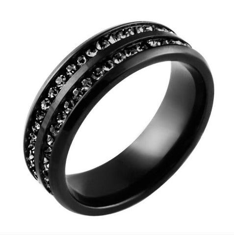 We Belong Together Black on Black - Double Band Stainless Steel and Cubic Zirconia Embellished Ring
