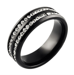 We Belong Together Black - Double Band Stainless Steel and Cubic Zirconia Embellished Ring