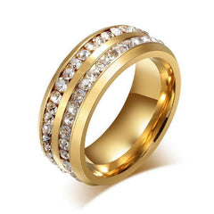 We Belong Together Gold - Double Band Stainless Steel and Cubic Zirconia Embellished Ring