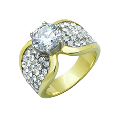 Wings of Love - Women's Two-Tone Gold IP Stainless Steel Ring with AAA Grade Clear CZ Stones