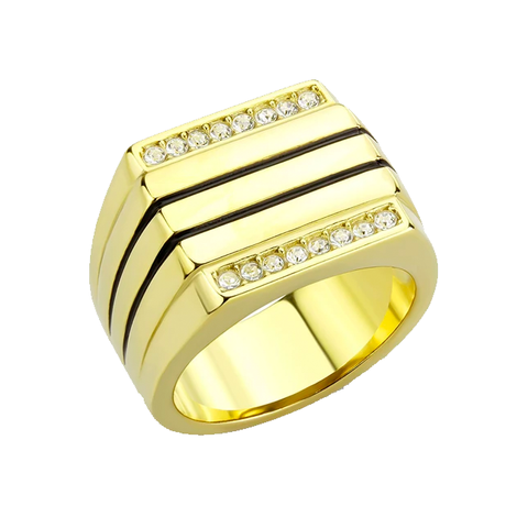Winston - Men's Gold IP Plated Stainless Steel CZ Statement Ring