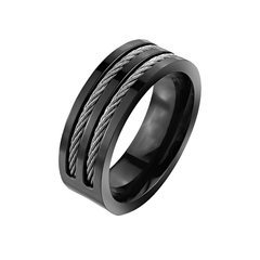 Wired - Artistic Design Black Slit Center Wired Titanium Comfort-Fit Ring