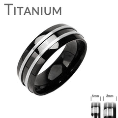 Zenith - Double Silver Stripe Black and Titanium Comfort Fit Wedding Band
