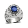 Abyss - Men's Stainless Steel Statement Ring With Sapphire Colored Center Stone And Clear CZs