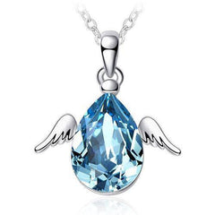 Drop of Angel - White Gold Plated Blue Crystal Water Drop Angel Wing Necklace