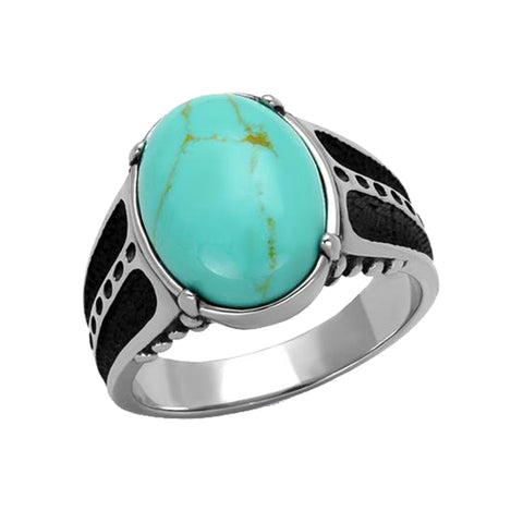 Auguste - Men's Stainless Steel Ring With Turquoise Center Stone
